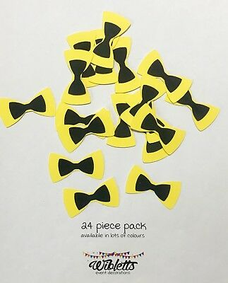 24 Confetti Table Scatter Bows Emma Wiggle Theme Party. Black & Yellow Bowtwoful