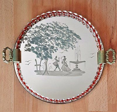MURANO Dresser/Vanity TRAY circa 1940's/50's Etched Mirror Glass & Rope Edging
