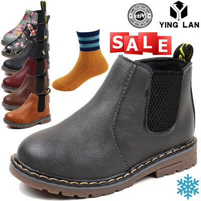 New Boys Girls Kids Leather Ankle Boots Waterproof Flat Toddler Martin Shoe Size