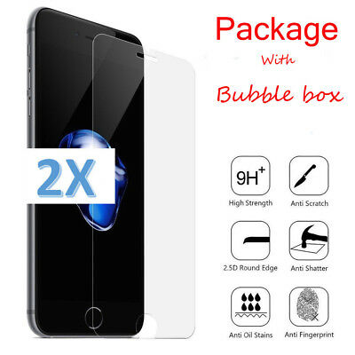 """2x For iPhone 8 Plus 5.5"""" 9H Premium 2.5D Tempered Glass Screen Protector"""