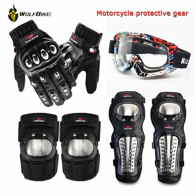 Motorcycle Body Guards Armor Knee Elbow Pads Motorbike Gloves Goggles Protectors
