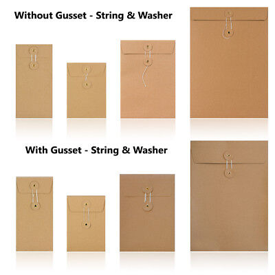Manilla - With & W/O Gusset - String & Washer All Size Bottom & Tie Envelopes