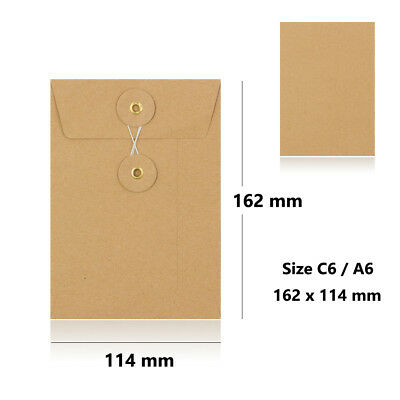 Manilla - With & W/O Gusset - String & Washer C6 Size Bottom & Tie Envelopes