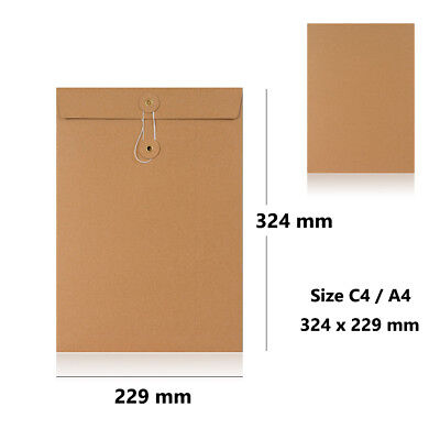 Manilla - With & W/O Gusset - String & Washer C4 Size Bottom & Tie Envelopes
