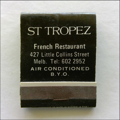 St Tropez French Restaurant 427 Little Collins St Melb 6022952 Matchbook (MK46)