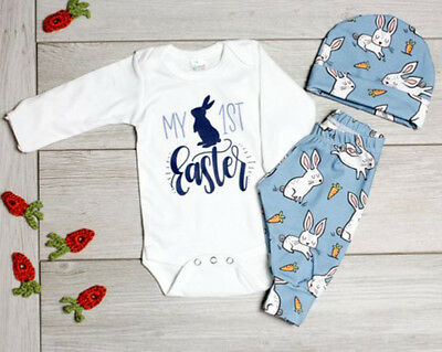 2019 1st Fashion Easter Outfit Newborn Baby Boy Girl Romper+Pants Hat Clothes AU