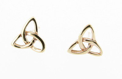 9ct Yellow Gold Celtic Trinity Knot Design Stud Earrings - Made in the UK