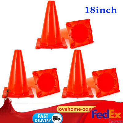 """6PCS 18"""" Traffic Cones Wide Body Fluorescent Red Road Parking Safety Cones Set"""
