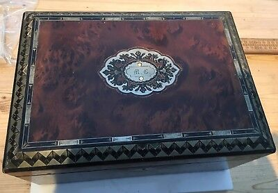 Lovely Antique Wooden Sewing Box Or Antique Wooden Jewellery Box, Inlaid, Tray