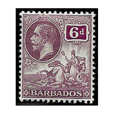 BARBADOS stamps 1912 George V and Seal of Colony 6 pence purple SG.177 MH -F640