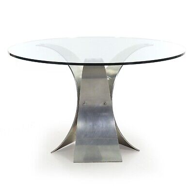 Modern Vintage Glass Center & Curved Aluminum Round Dining Table, circa 1970s