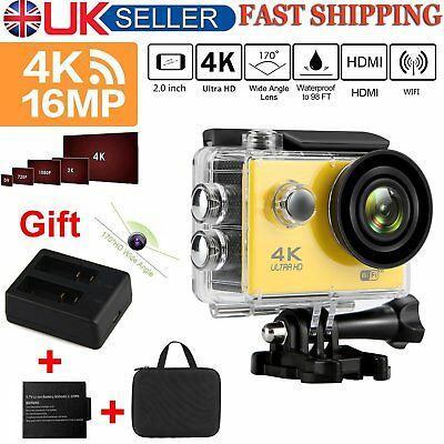 FHD 4K 16MP Action Camera Wifi Video Waterproof +2 Ports AC Charger 2 Battery UK
