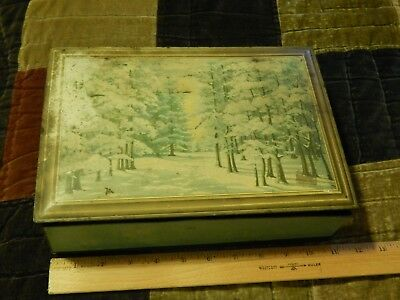 "NABISCO National Biscuit Company [Metal Hinged Lid Tin] Vtg ""Winter Forest Walk"""