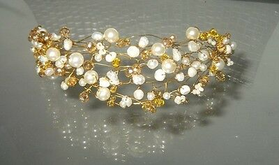 GOLD CRYSTAL, FRESHWATER PEARL TIARA,HANDCRAFTED BRIDAL HEADPIECE,NEW,Australian