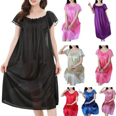 Womens Summer Lace Ice Silk Nightdress Short Sleeve Loose Plus Size Nightgown XL