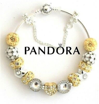 Authentic Pandora Bracelet Silver with 15 bead European charms Gold Heart USA