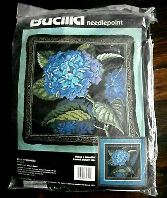 Vtg Bucilla HYDRANGEA Pillow Picture Floral Flower Needlepoint KIT Elegant MIP