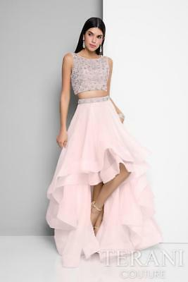 Terani Two Piece HighLow Gown, Blush Nude, Prom, Sweet 16, Bat Mitzvah NWT