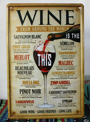 20x30cm WINE FROM AROUND THE WORLD Vintage Poster Metal Signs Plaques Wall Decor