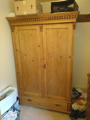 "Antique pine ""knockdown"" wardrobe, believed to be Dutch in origin."