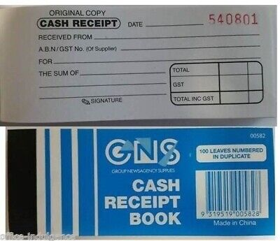 20 x GNS Mini Cash Receipt Book 50x125mm Carbon Duplicate 100 Leaf GN 582