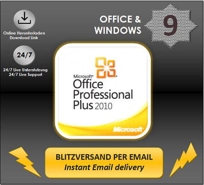 MS Office 2010 Professional Plus, Pro Plus, 32&64 Bits, Direkt per email, Key