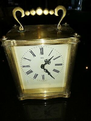 Smiths Brass Wind Up Carriage Clock, With Key