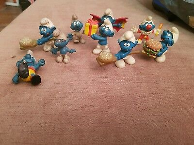 VINTAGE SCHLEICH PEYO SMURFS JOB LOT of  9 Mixture of 1970s and 1990s
