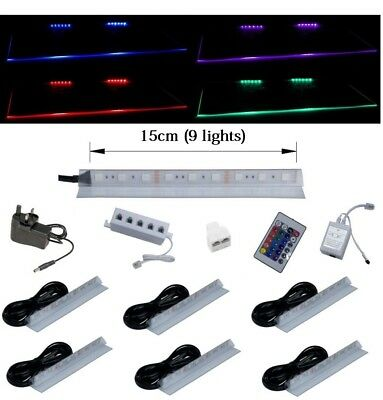 LED lights RGB set LED Glass Shelf Clip kit Remote Shelve Stripes furnitures