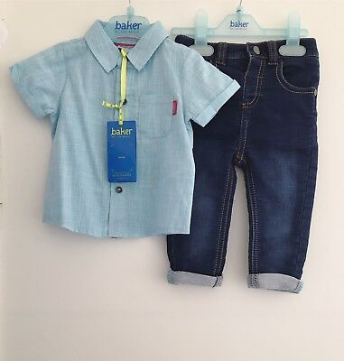 Baby Boys Ted Baker Shirt And Denim Jeans Set Size 6-9 Months Blue