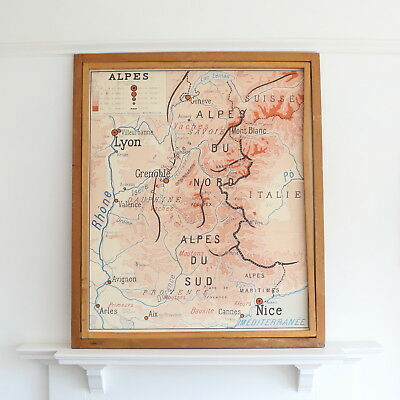 Vintage French school map - Alps and Pyrenees - double sided map - wall map