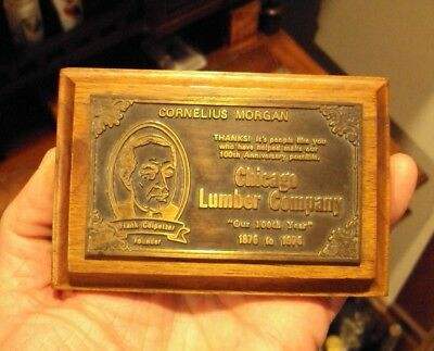 VINTAGE CHICAGO LUMBER CO ADVERTISING PAPERWEIGHT 1876 - 1976 100th Anniversary