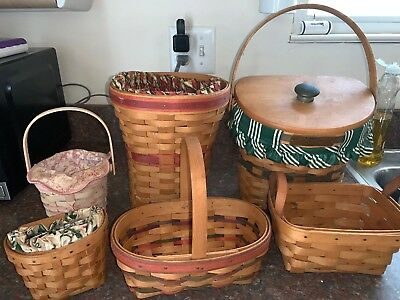 Longaberger Basket Lot of 6 Assorted Style and Size Nice