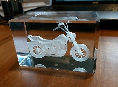 Cruiser MOTORBIKE Laser 3D Etched Crystal Glass Ornament & toy Yamaha Virago