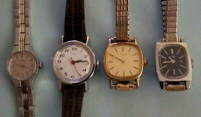Lot Of 4 Timex Watches Women Vintage Hand Wind Mechanical All Work