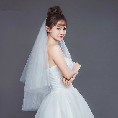 New 2 Tier Ivory / White Wedding Bridal Elbow Cut Edge Veil Length with Comb
