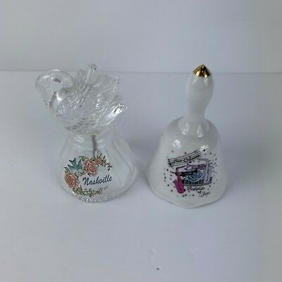 Set of 2 Ceramic Glass Bells New Orleans Nashville Tennessee Jazz Swan