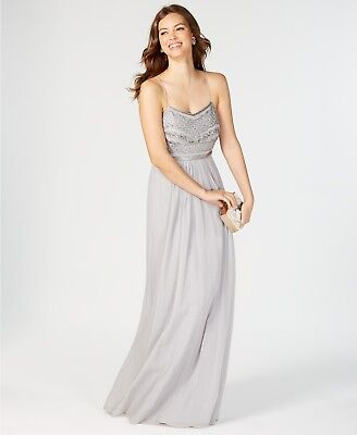 New $395 Adrianna Papell Women Gray Beaded Embellished Chiffon Gown Dress Size 8