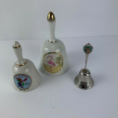 Lot of 3 Bells Bahamas Cayman Island Puerto Rico Metal Ceramic Vintage