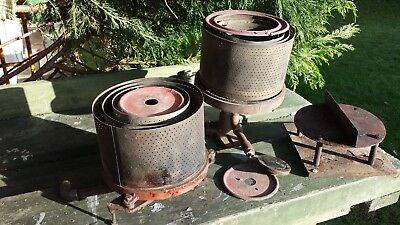 """Aga 6"""" Deep Well Oil Burner,shells And Top Hat/lid, Two Sets All In Good Order"""