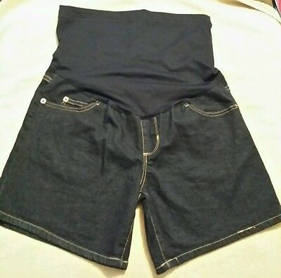 Grayson Maternity Blue Denim Jean Shorts Size Small 6' Inseam With Panel NWOT
