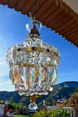 Antique French  Stunning Cage Crystal Chandelier