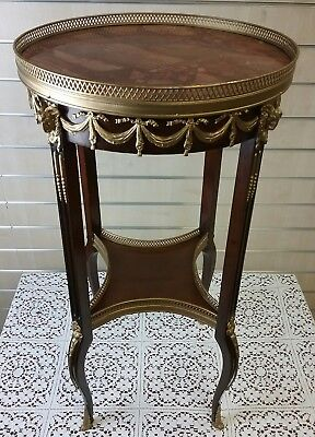 French  Ormolu Empire Revival Rouge Marble Top Tables