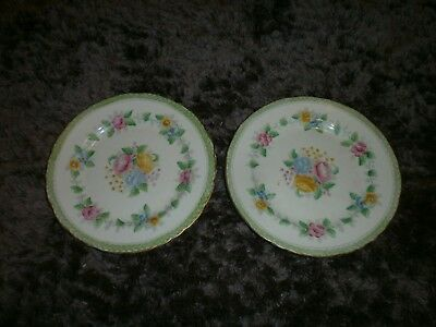 Rosemary Delphine China Green/Pink/Blue/Yellow  & gold rim Floral Tea Plate