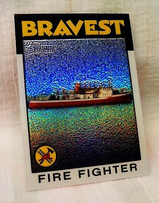 2009 Fire Fighter ( NYC FIREBOAT ) Topps Heritage Heroes REFRACTOR card ONLY 76!