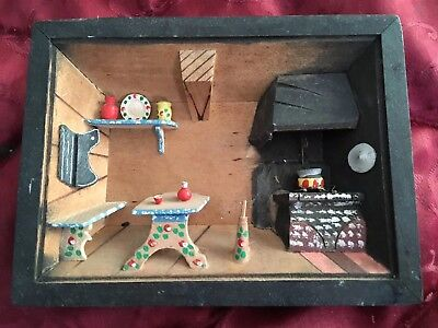 Antique 3D Rustic Cabin Scene Home Kitchen & Stove Wall Hanging. Check Pics