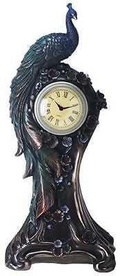 "Summit Bronze Finish Peacock Clock with Flower Detail 14.5"" Height"