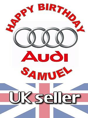#01OF AUDI. edible,personalised,wafer,icing,precut,uncut,ribbon,cake,toppers