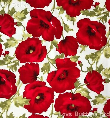 John Louden Remembrance Day Wild Poppies Ivory Fabric 100% Cotton Half Metre