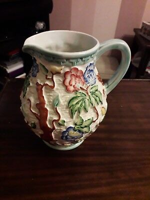 Floral Signed H.J Wood Indian Tree Jug